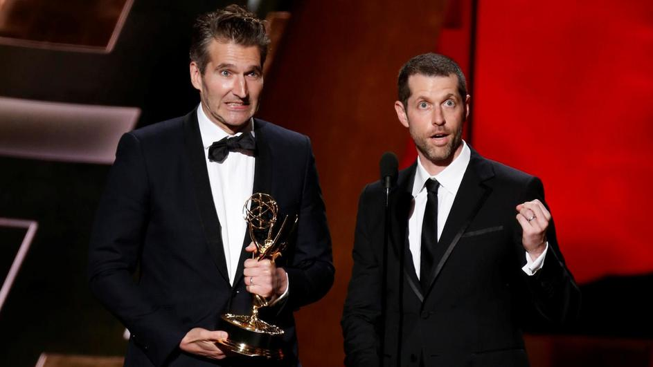 "FILE PHOTO: Benioff and Weiss accept the award for Outstanding Writing For A Drama Series for HBO's ""Game of Thrones"" at the 67th Primetime Emmy Awards in Los Angeles"