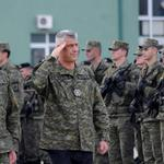 Kosovo's President Hashim Thaci attends a ceremony of security forces