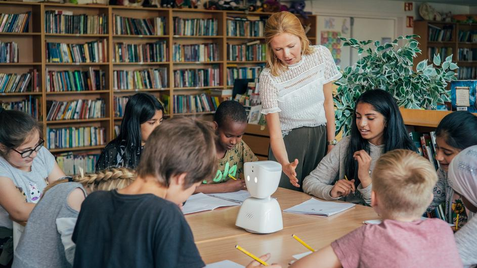 No Isolation's AV1 robot in a classroom in Norway. It helps children with long term illnesses keep up with their schoolwork remotely. Credit: No Isolation