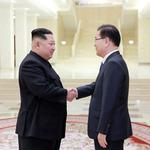 North Korean leader Kim Jong Un shakes hands with Chung Eui-yong in this photo released by North Korea's Korean Central News Agency